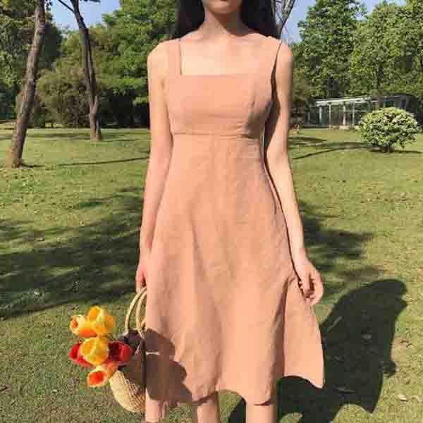 纯色拉丝连衣裙